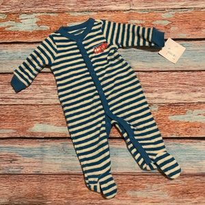 Firetruck Striped Button Snap Footed PJ